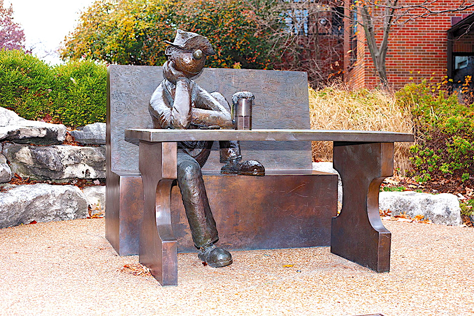 The finished bronze sculpture of Beetle Bailey on the University of Missouri campus.