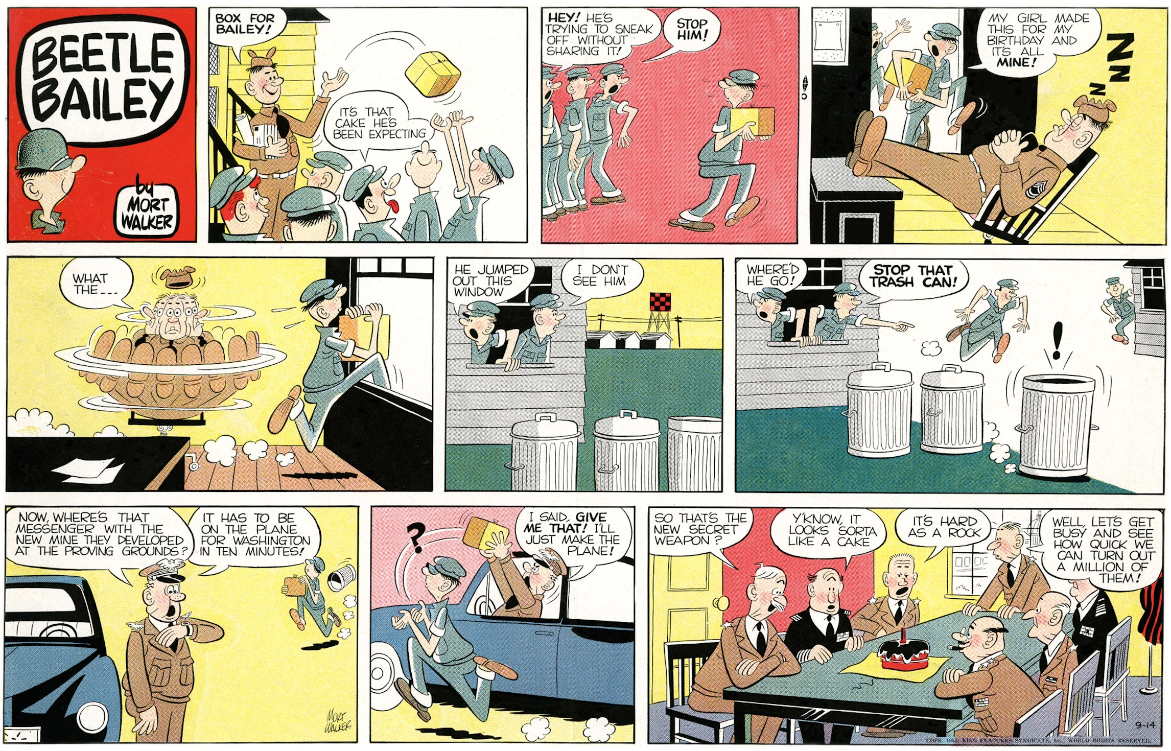 Beetle Bailey Sunday page, color proof, September 14, 1952.