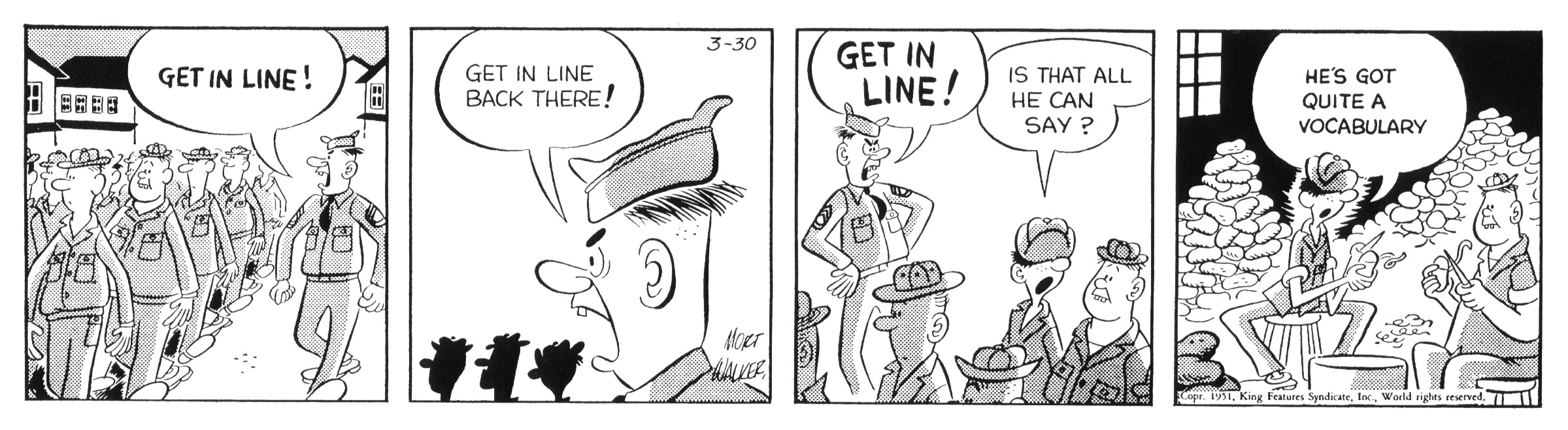 Beetle Bailey daily strip, March 30, 1951.