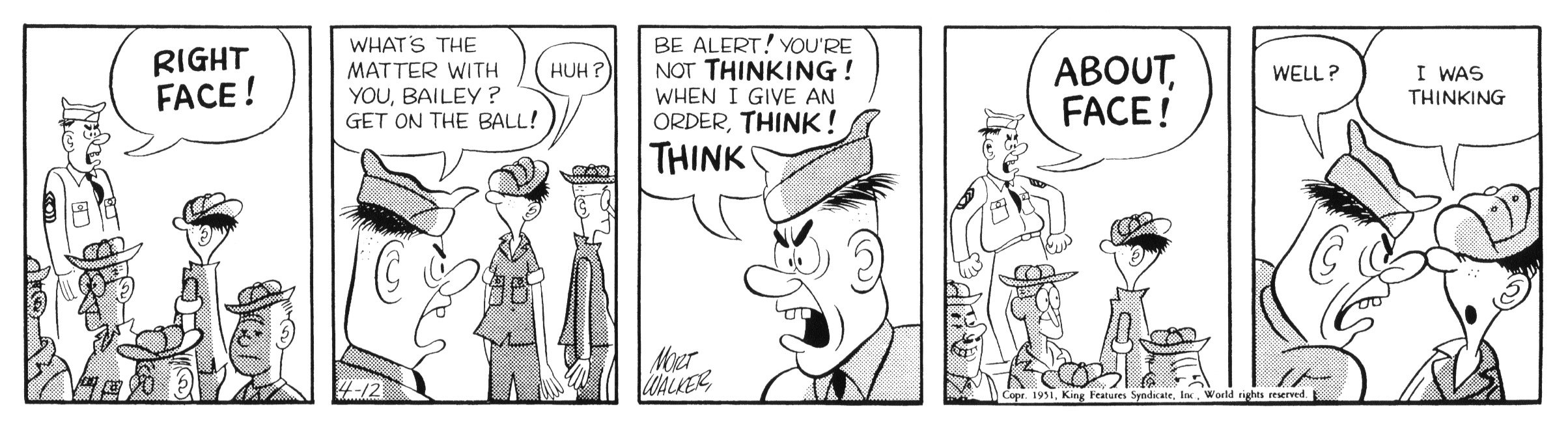 Beetle Bailey daily strip, April 12, 1951.
