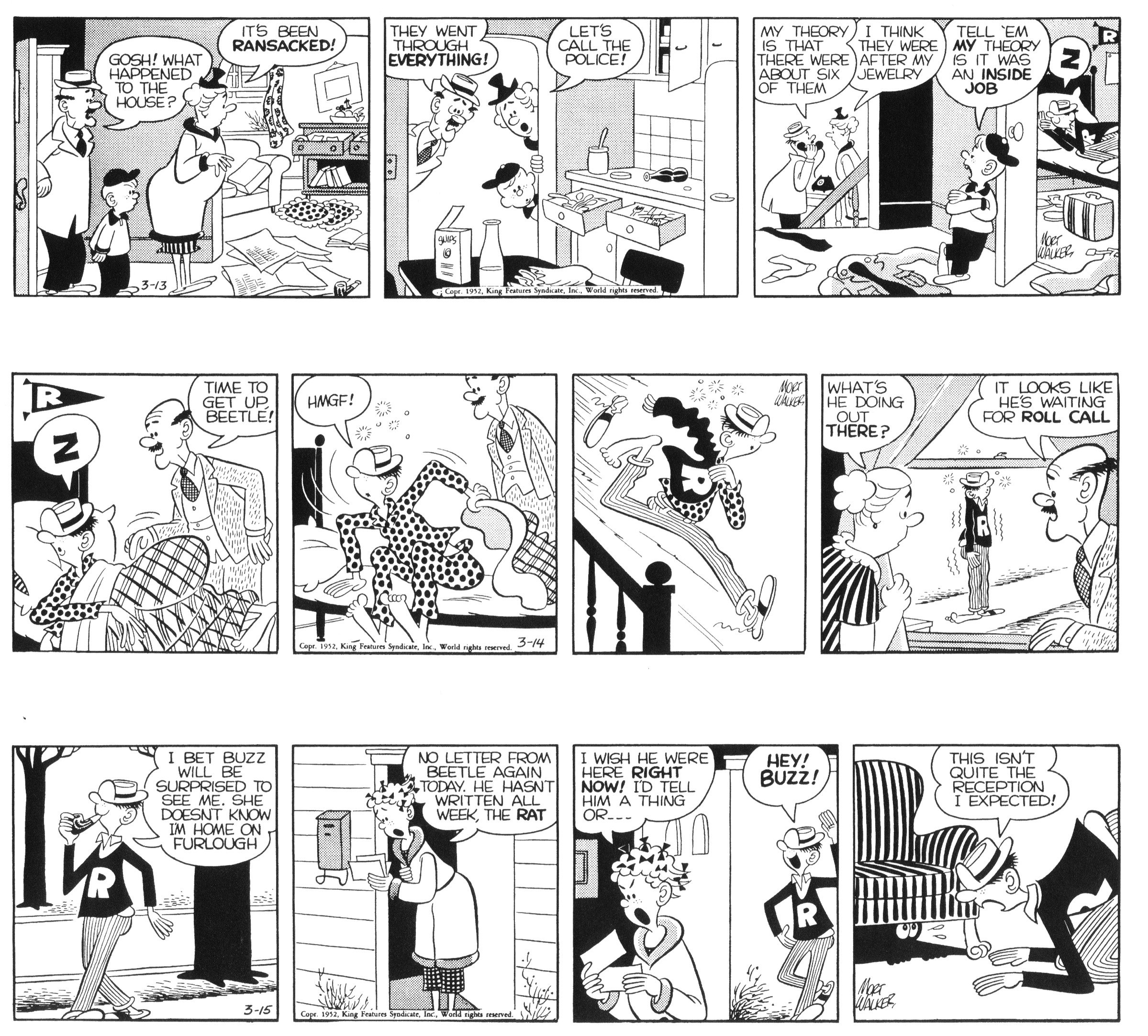 Beetle Bailey daily strips, March 13 - 15, 1952.