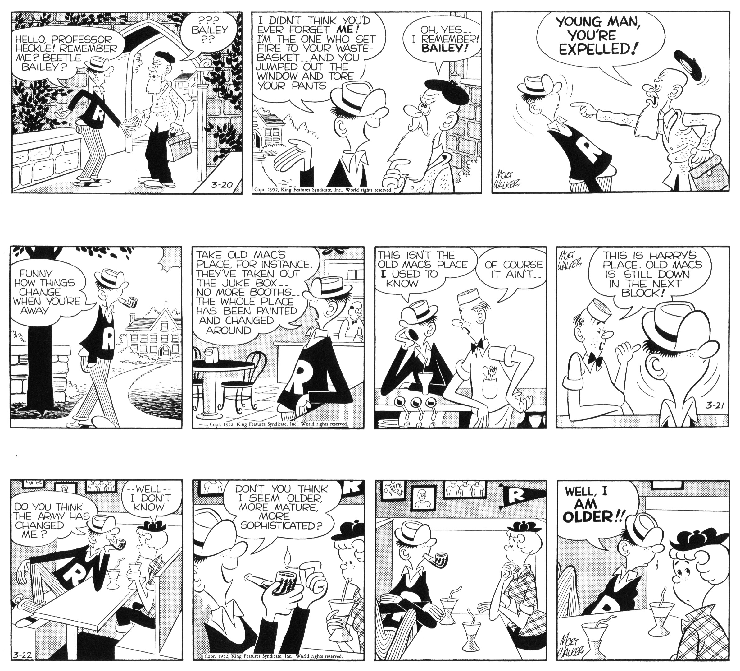 Beetle Bailey daily strips, March 20 to 22, 1952.