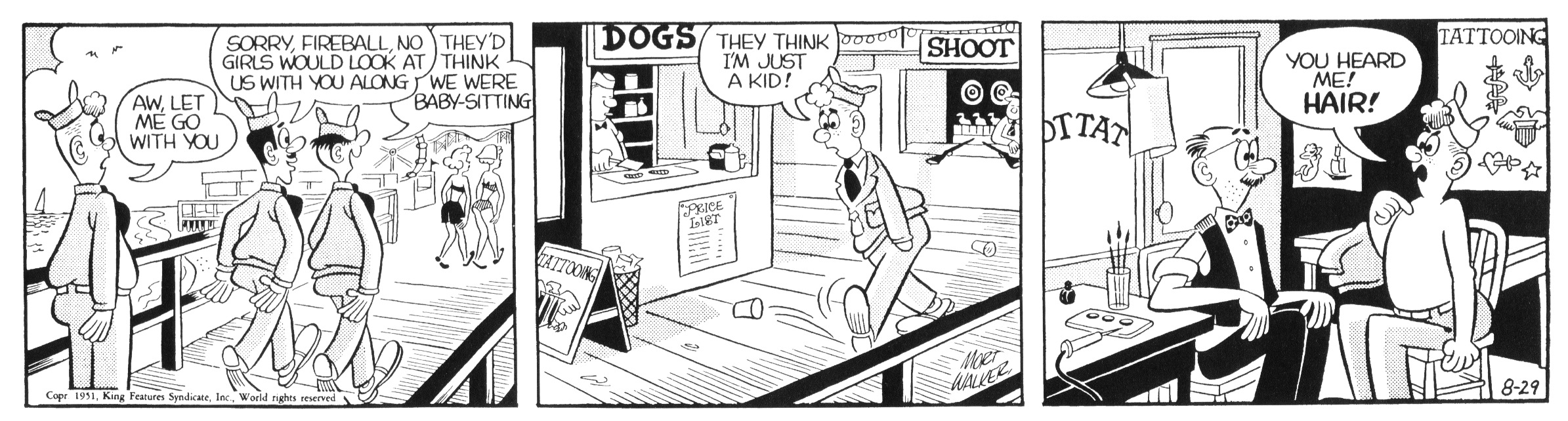 Beetle Bailey daily strip, August 29, 1951.