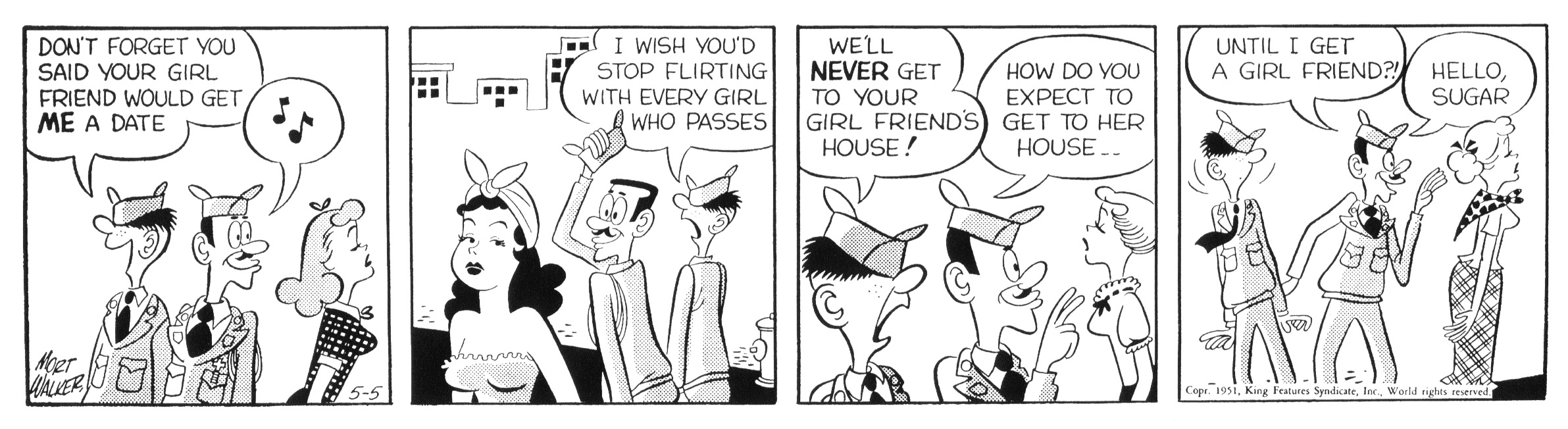 Beetle Bailey daily strip, May 5, 1951.