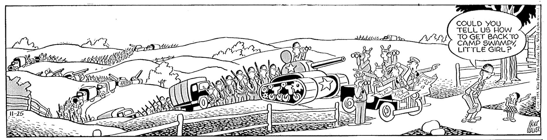 Beetle Bailey daily strip, November 25, 1953.