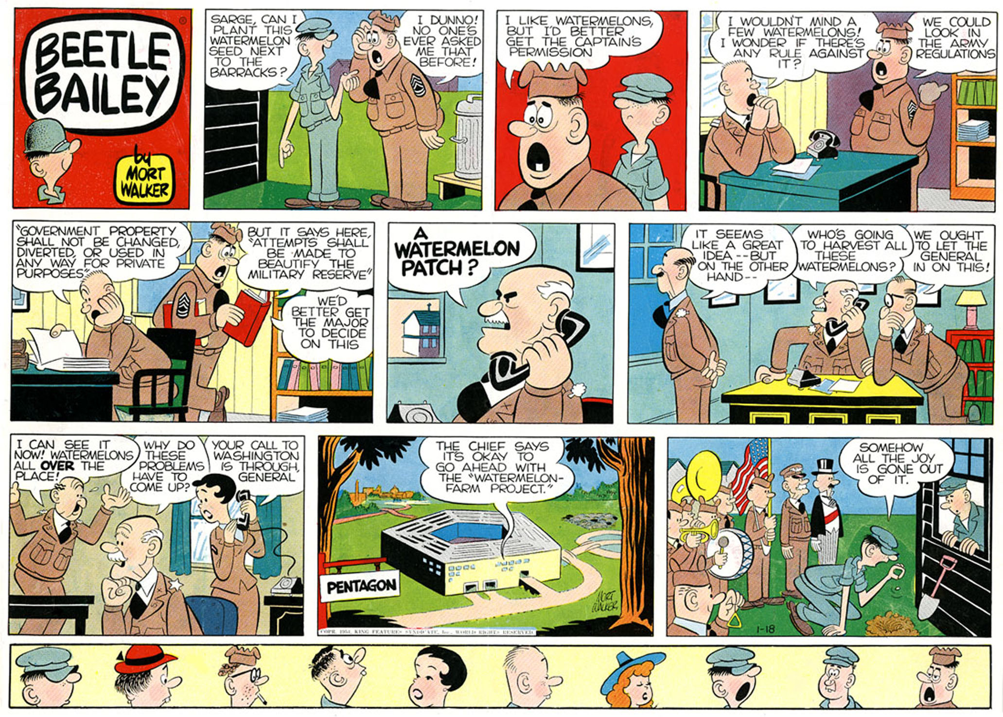 Beetle Bailey Sunday page, color proof, November 8, 1953.