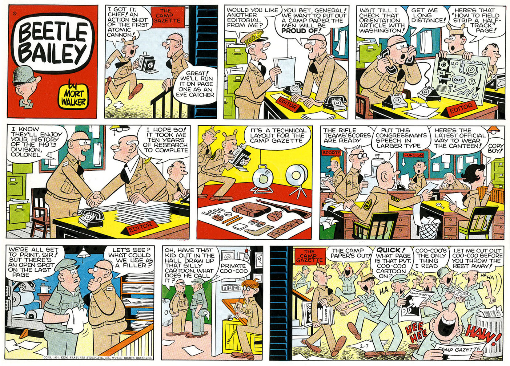 Beetle Bailey Sunday page, color proof, February 7, 1954.