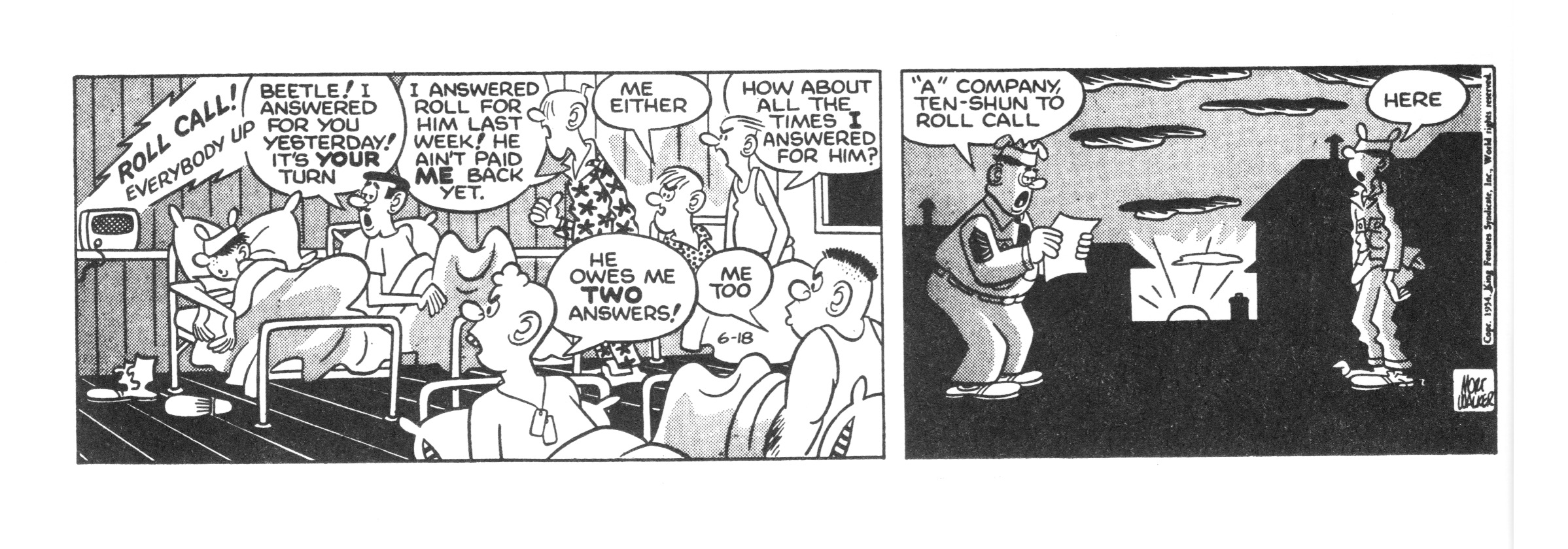Beetle Bailey daily strip, June 18, 1954.