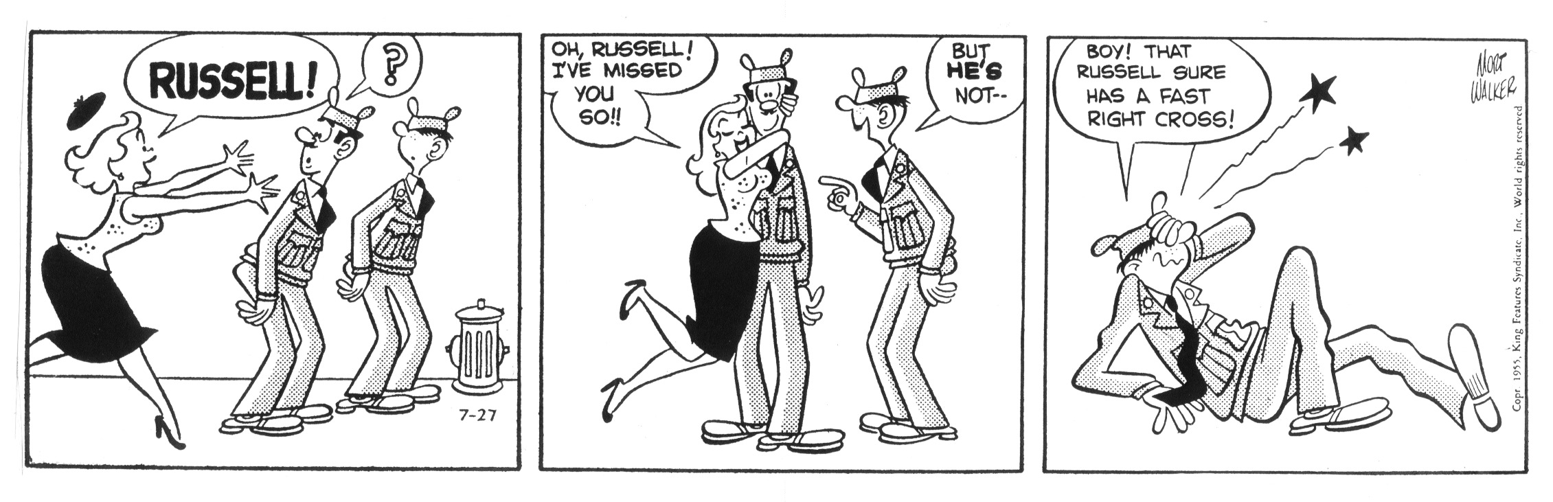 Beetle Bailey daily strip, July 27, 1955.