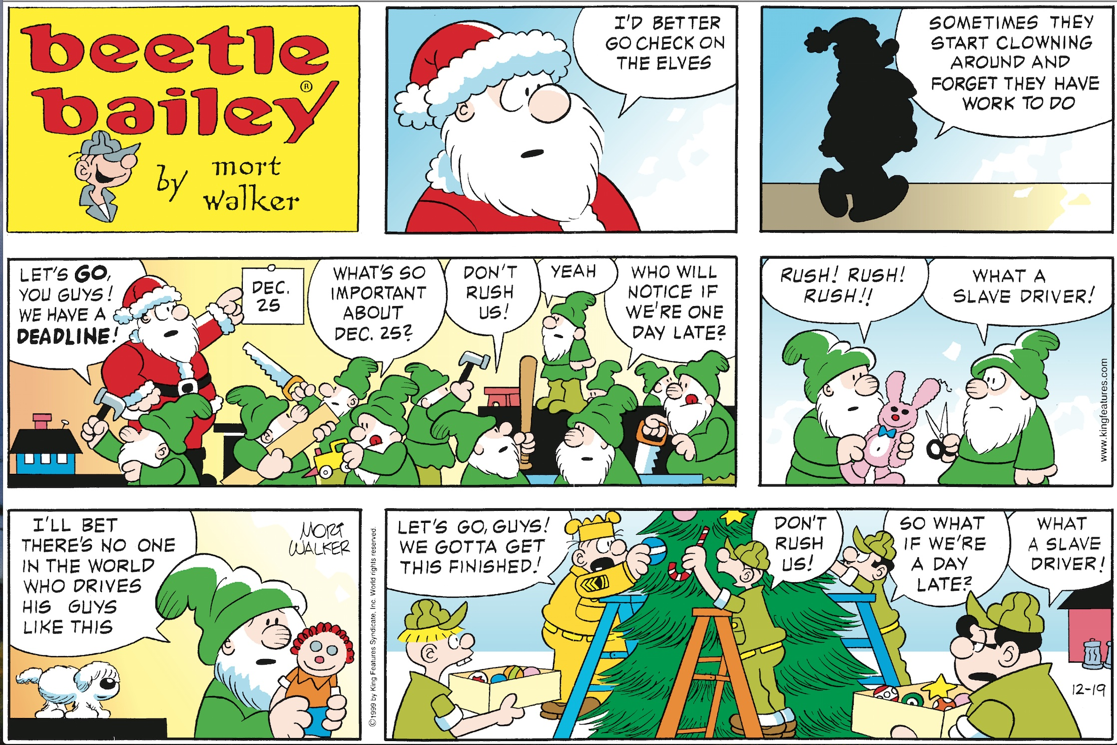 Beetle Bailey Sunday page, December 19, 1999.