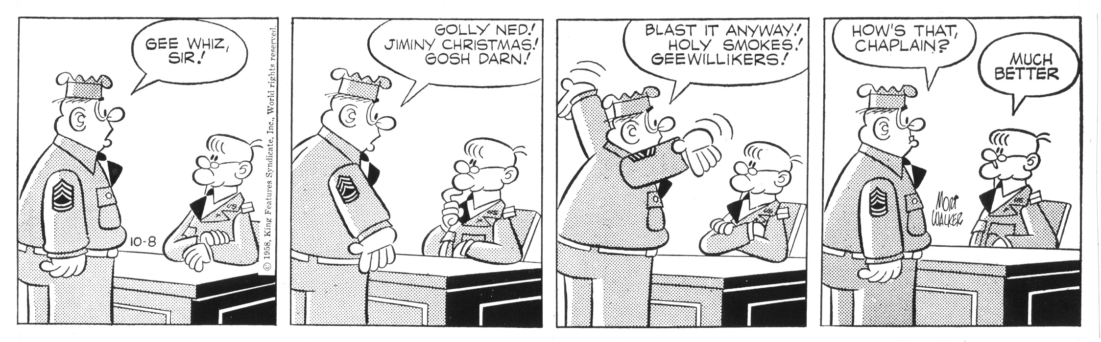 Beetle Bailey daily strip, October 8, 1958.