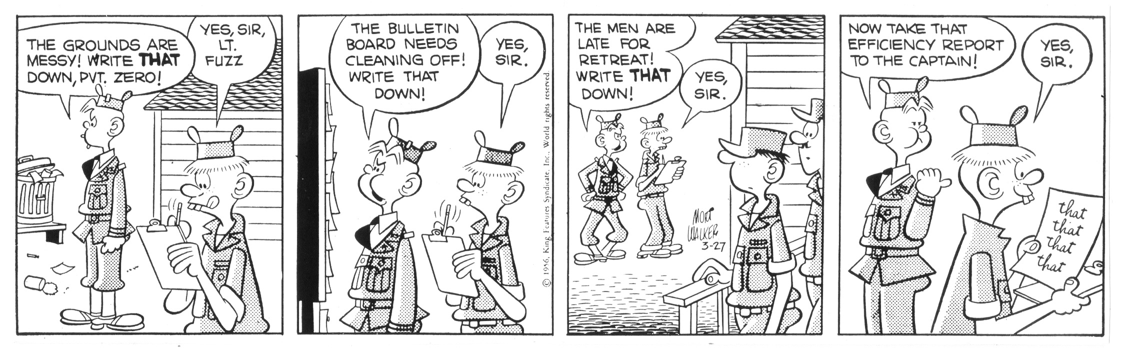 Beetle Bailey daily strip, March 27, 1956.