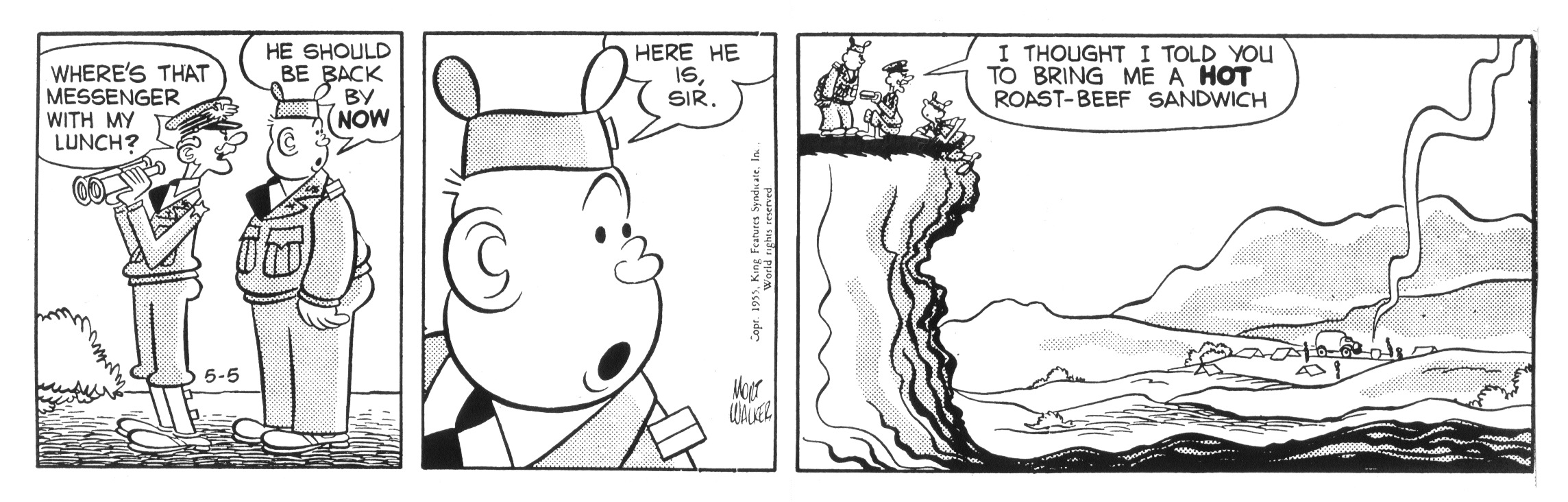 Beetle Bailey daily strip, May 5, 1955.