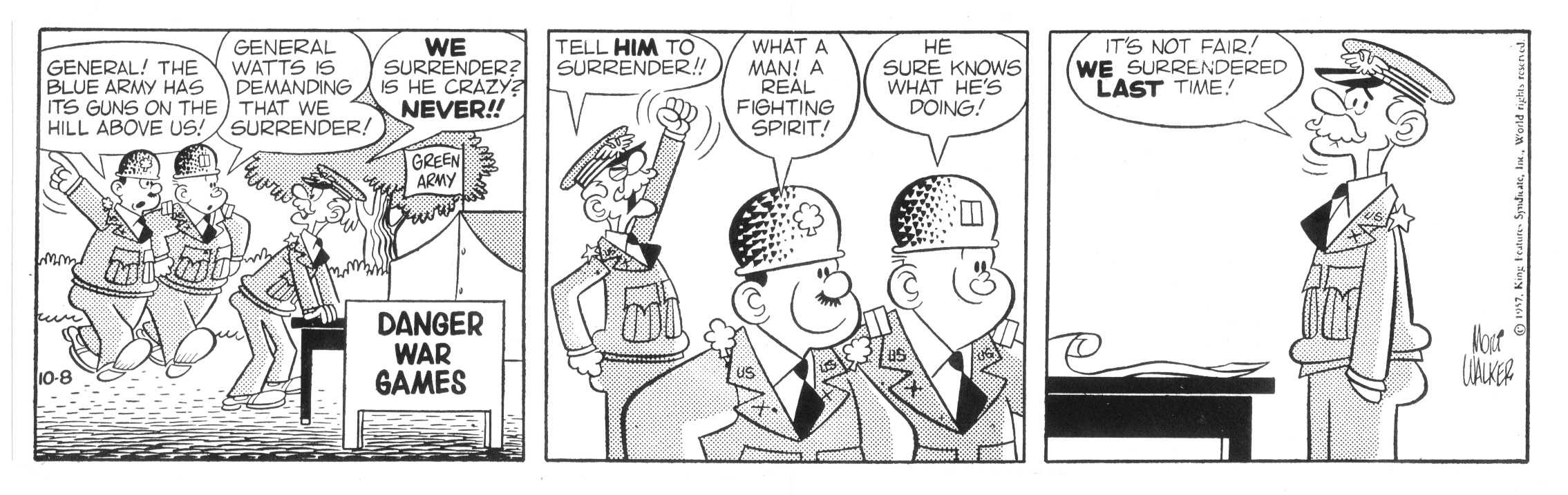 Beetle Bailey daily strip, October 8, 1957.