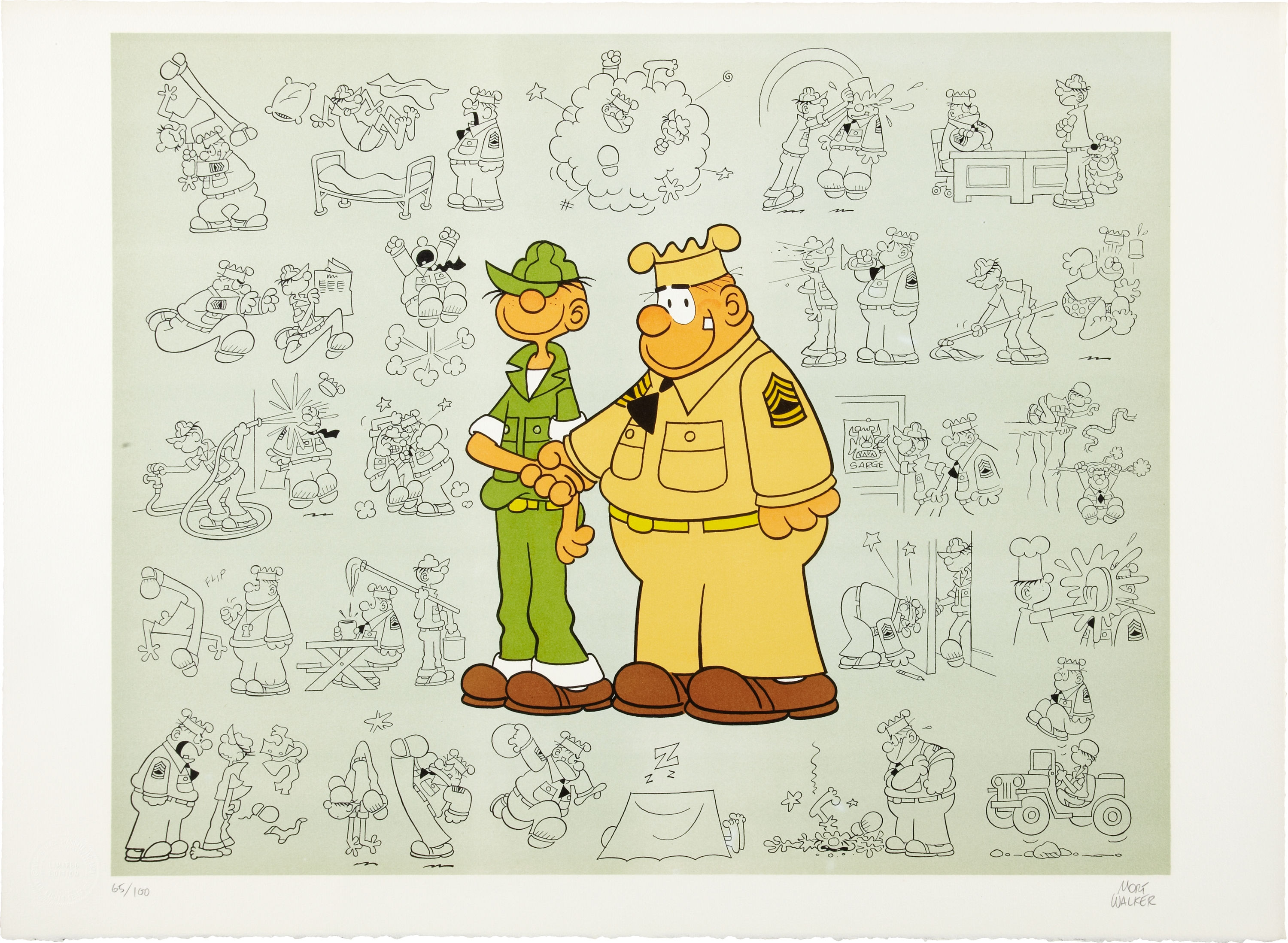 Beetle and Sarge by Mort Walker. Limited Edition Comic Art print, Harry N. Abrams, 1978.