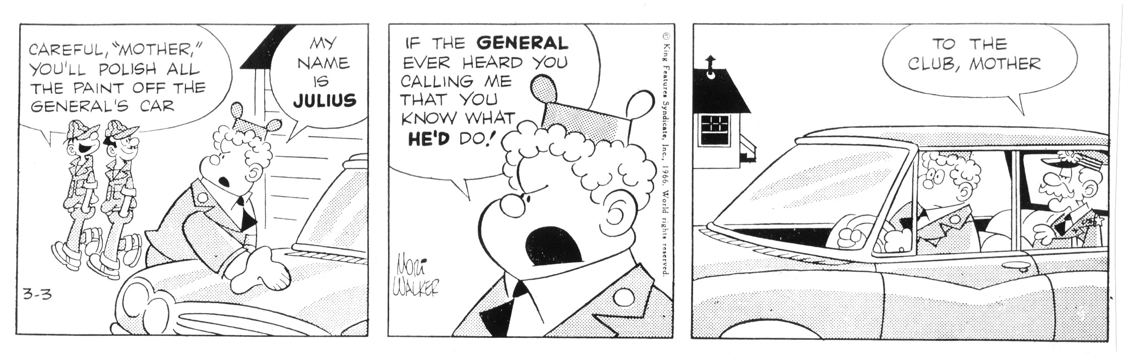 Beetle Bailey daily strip, March 3, 1966.