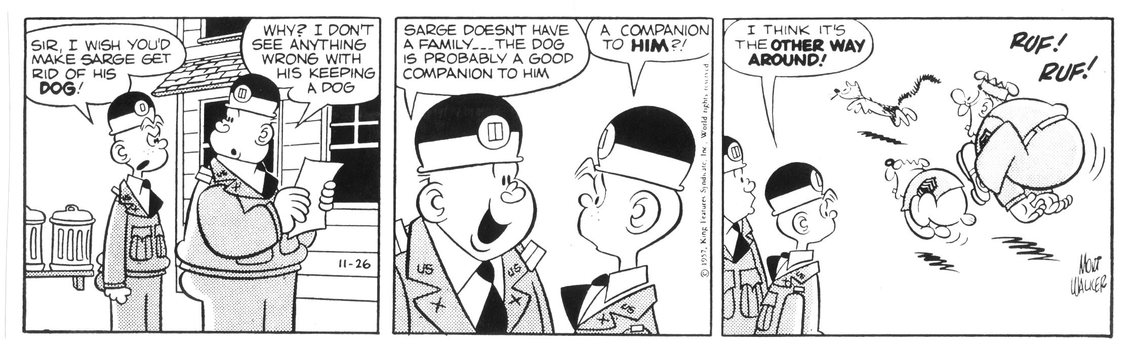 Beetle Bailey daily strip, November 26, 1957.