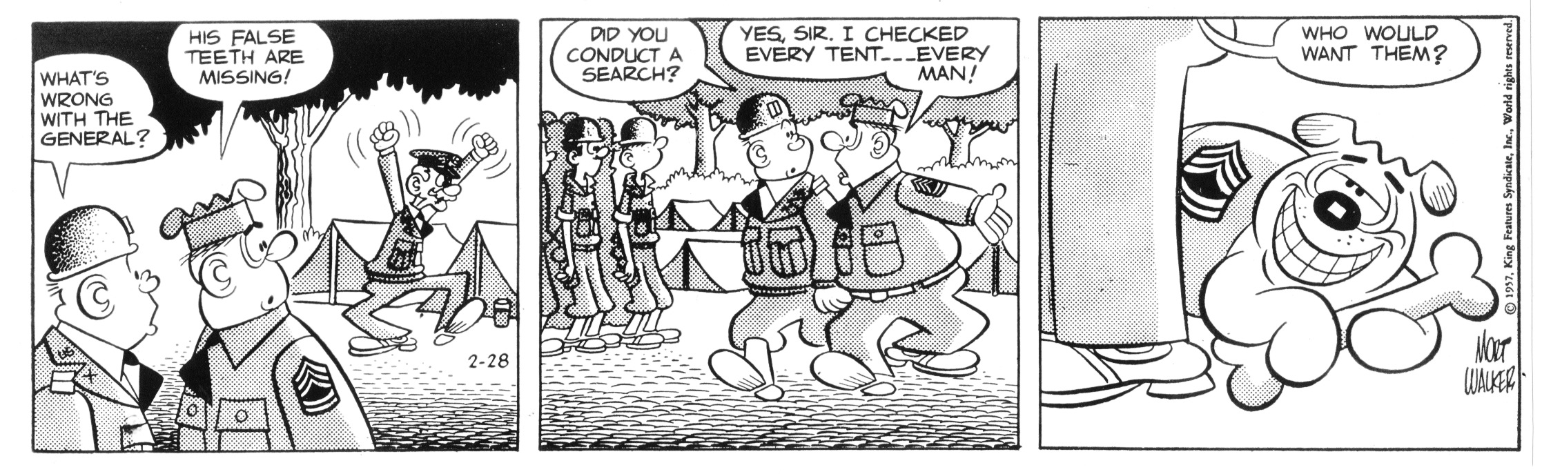Beetle Bailey daily strip, 1957.