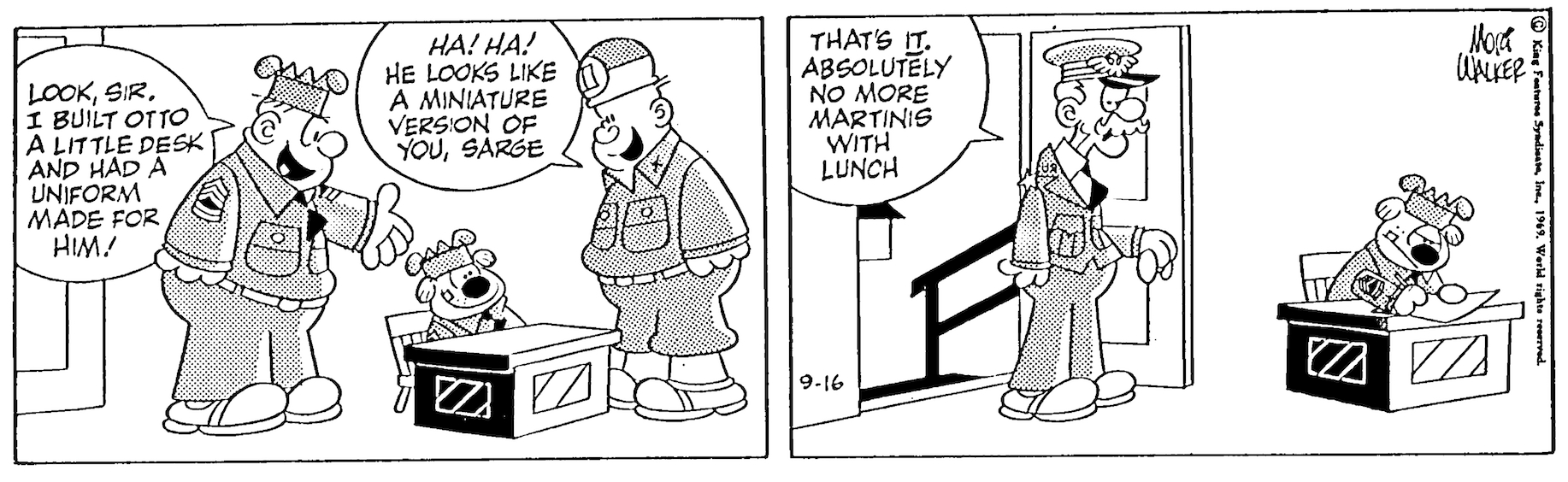Beetle Bailey daily strip, September 16, 1969.