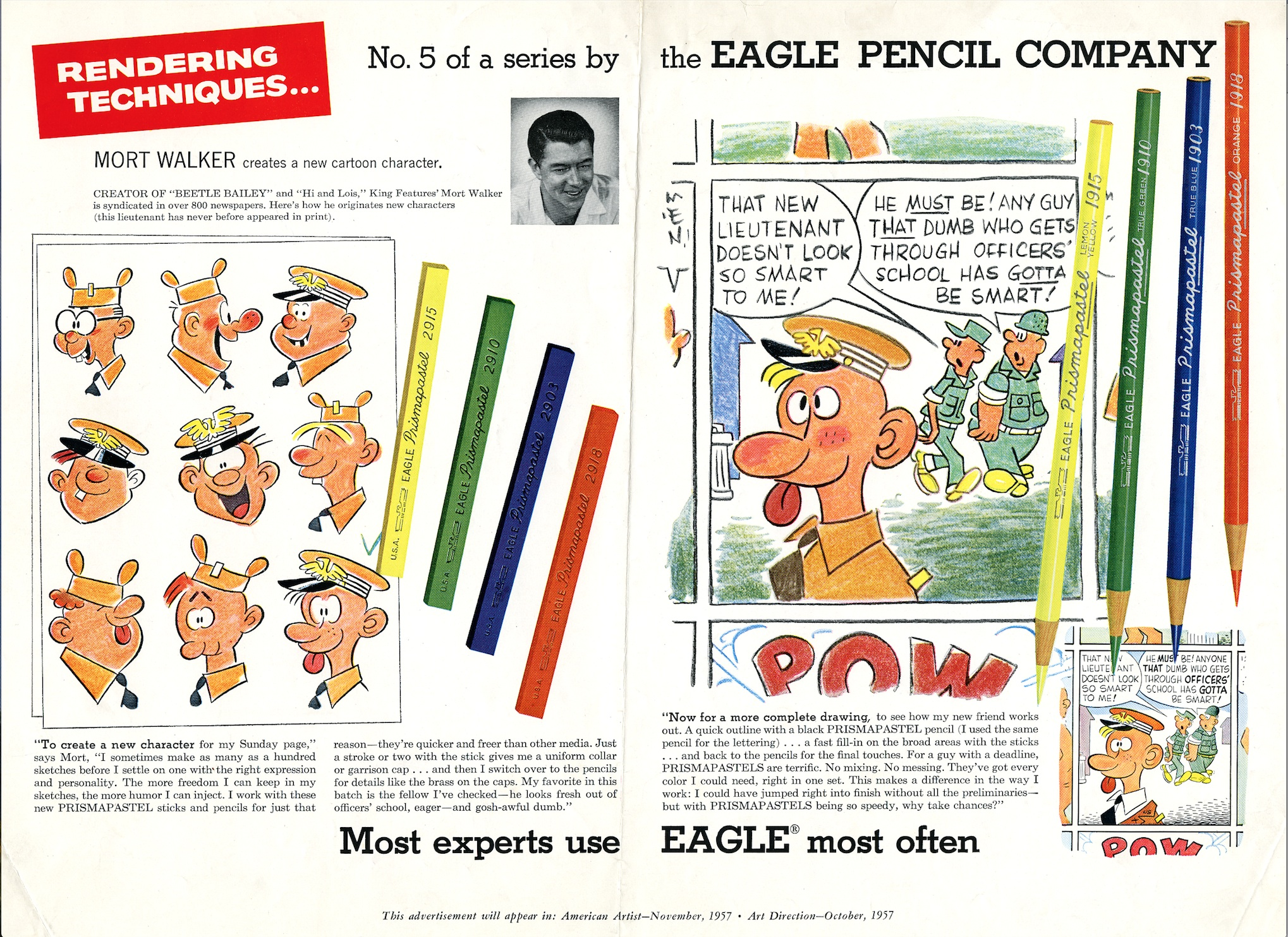 Advertisement for Eagle Pencil Company by Mort Walker, 1957.