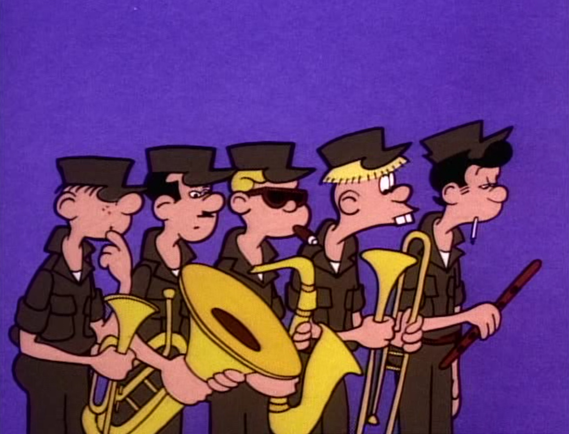"A still from the 1963 Beetle Bailey cartoon, ""Don't Fiddle with the Brass."""