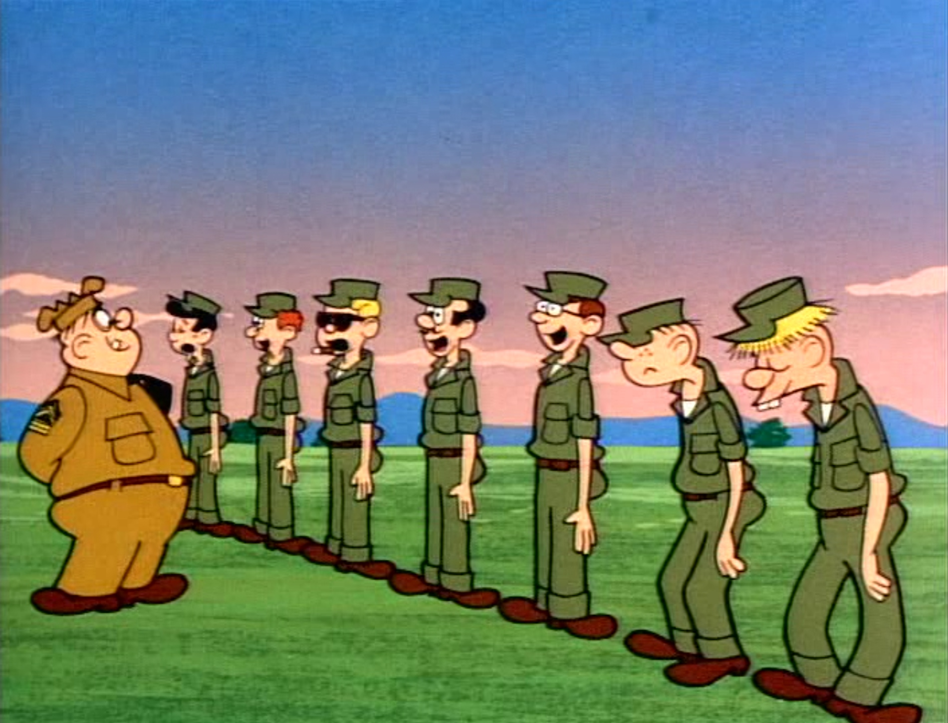 "A still from the 1963 Beetle Bailey cartoon, ""Hoss Laff."""