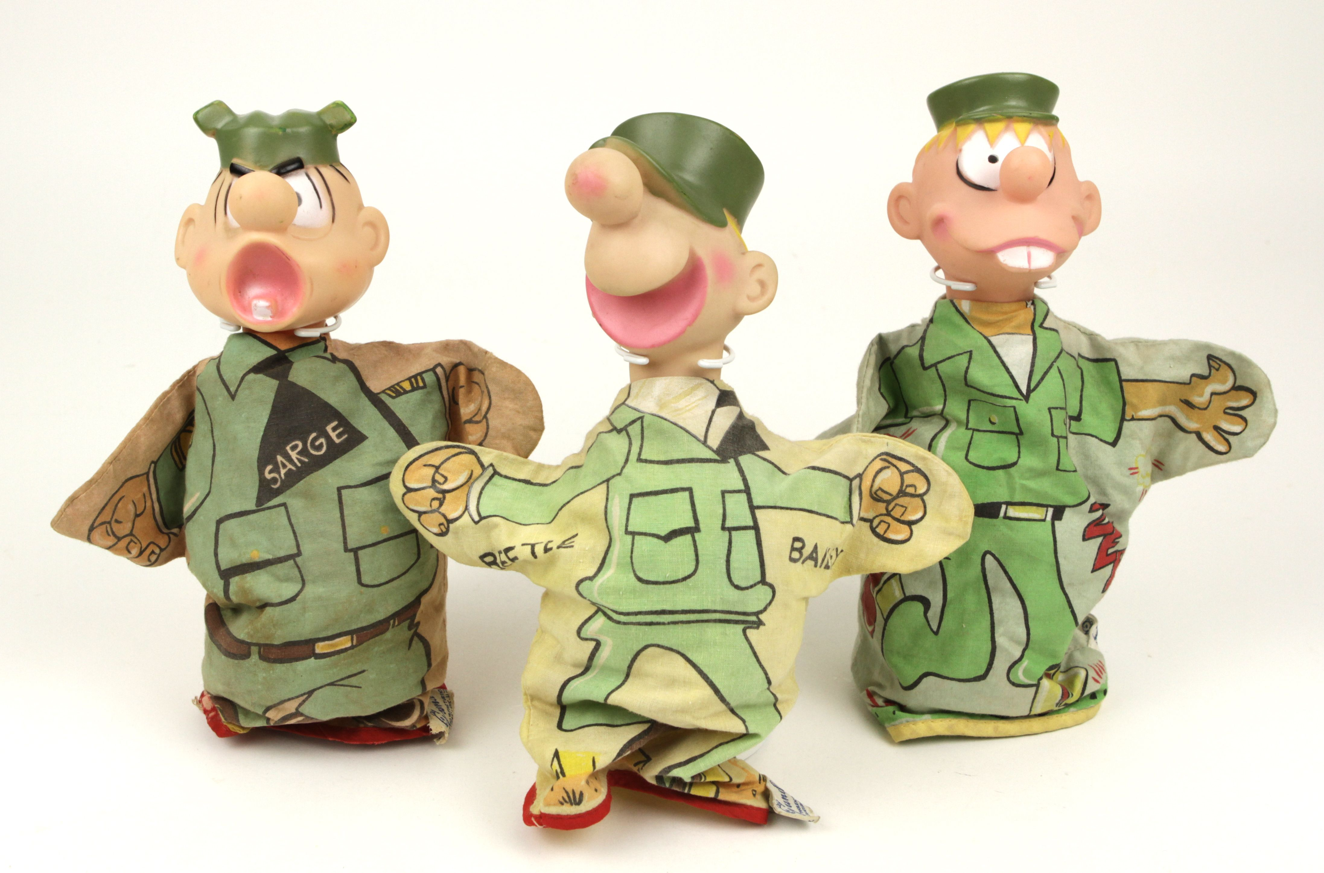 Sarge, Beetle and Zero hand puppets made by Gund in the early 1960s.