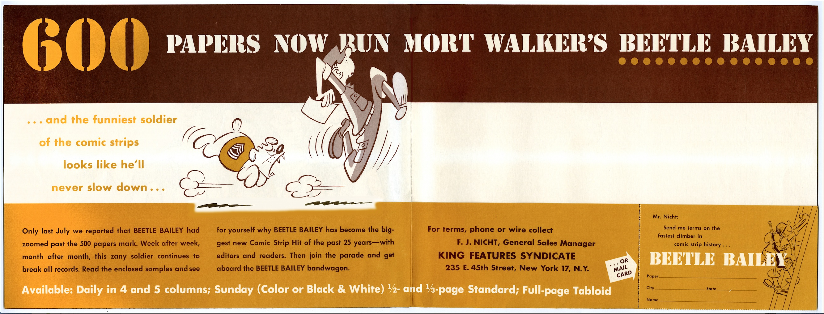 Beetle Bailey Sales Brochure Interior, 1957.