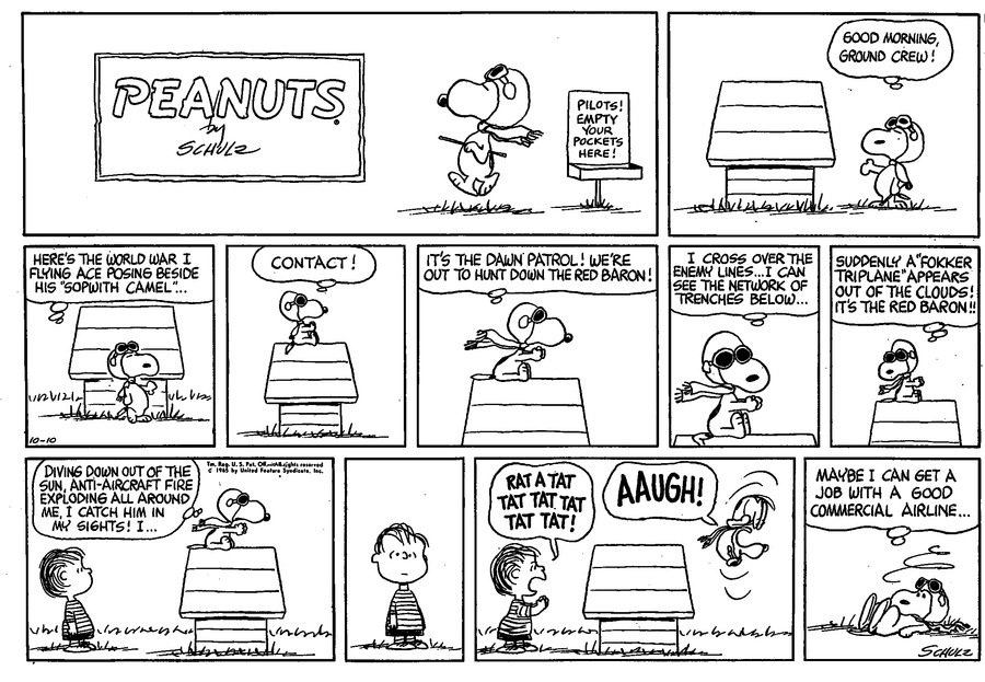 Peanuts Sunday page, October 10, 1965.