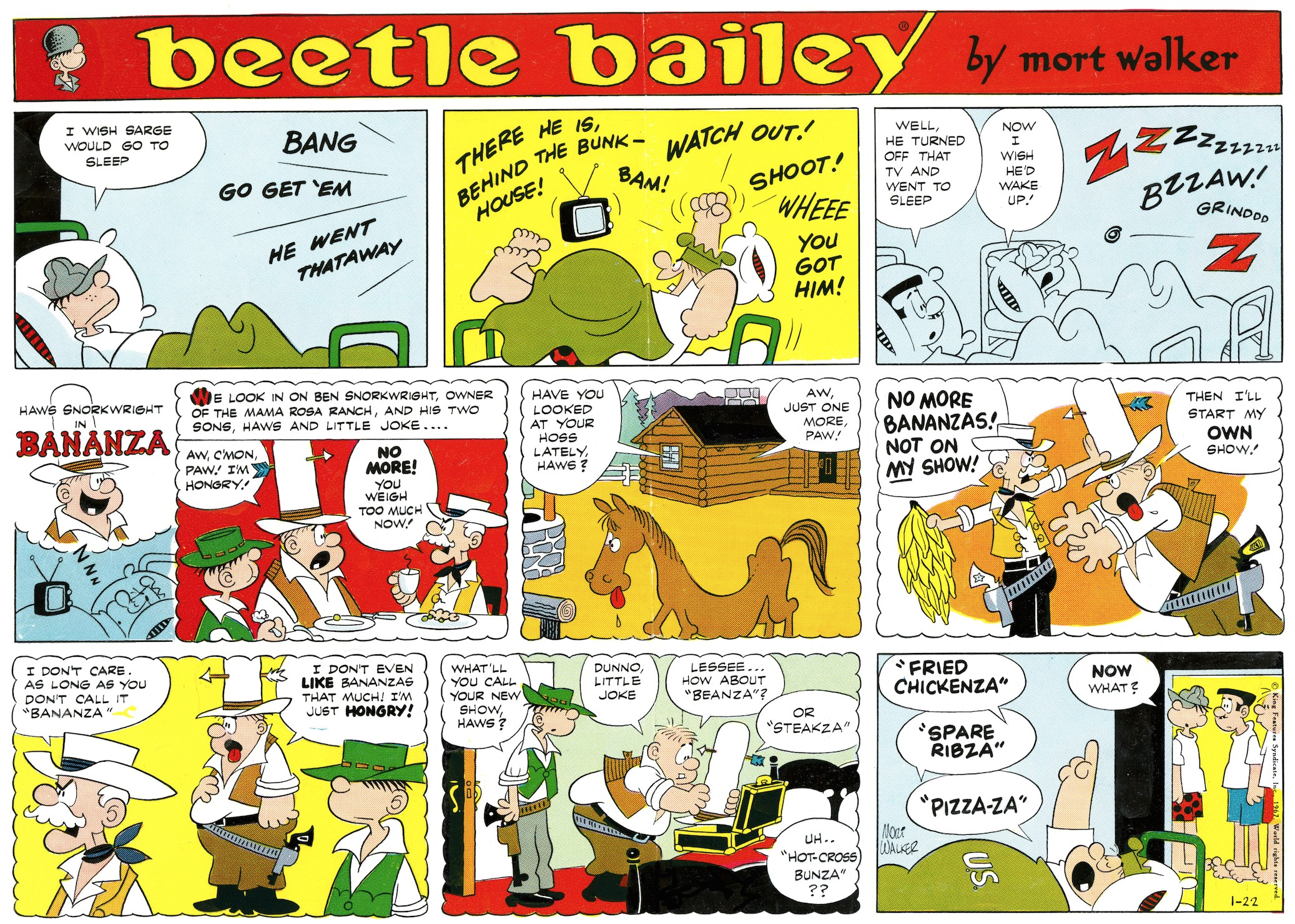 Beetle Bailey Sunday page color proof, January 22, 1967.