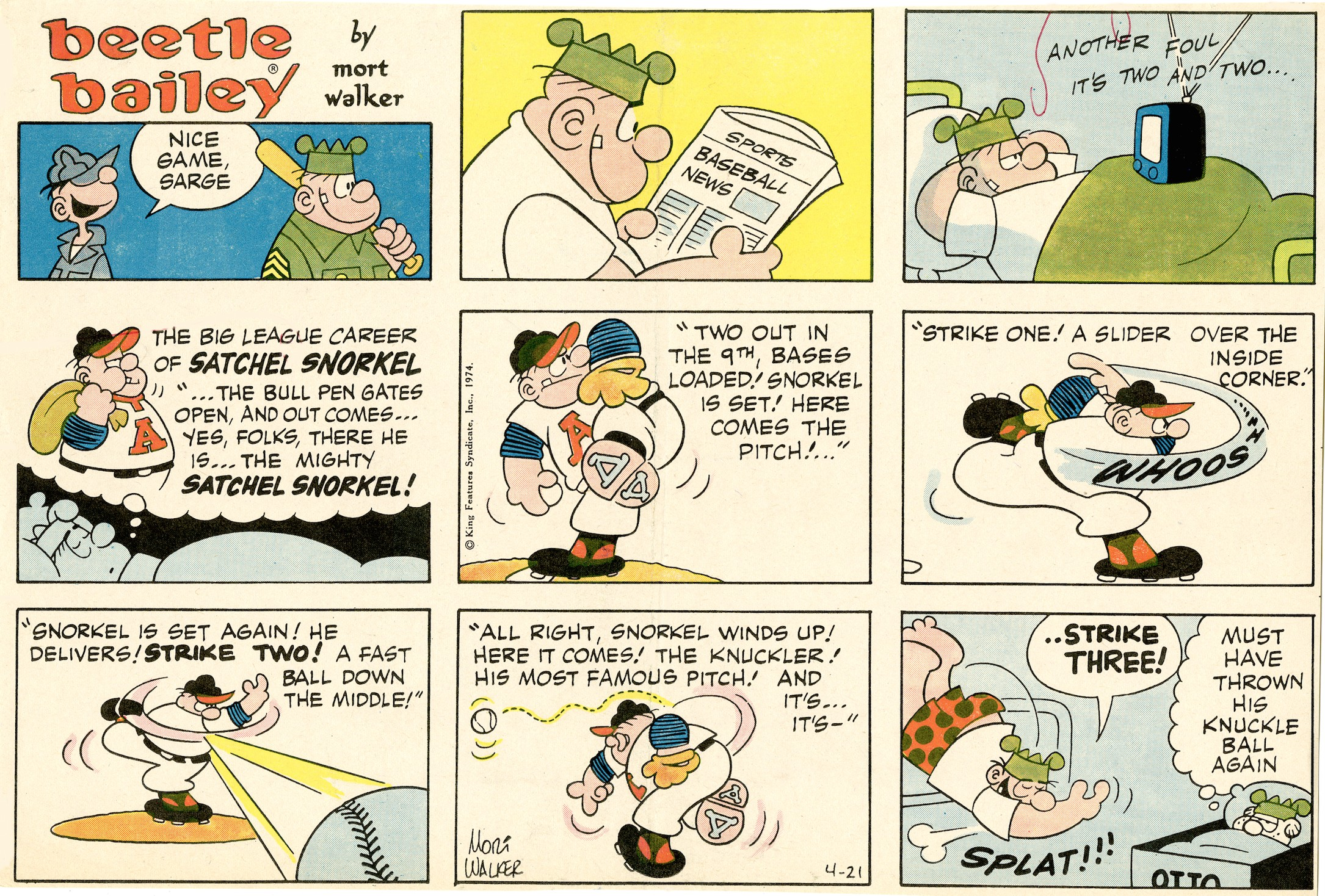 Beetle Bailey Sunday page, April 21, 1974.