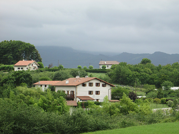 Caserios in the countryside around Hondarribia, Basque Country, Spain