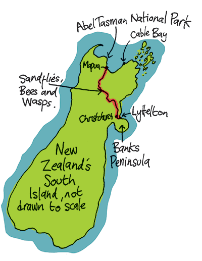 map of route from Lyttelton to Mapua