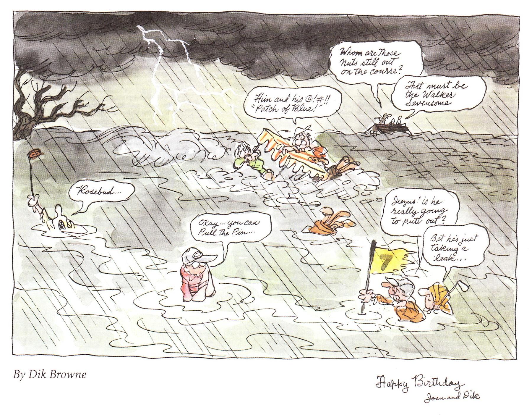 An original birthday card that Dik Browne drew for Mort Walker.