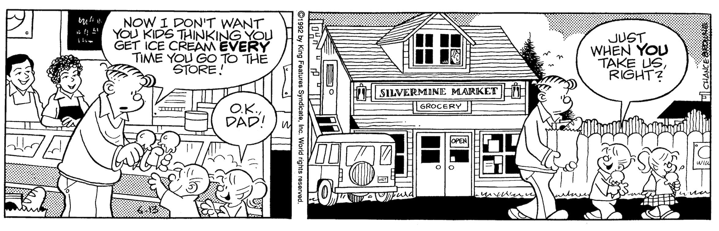 Hi and Lois daily strip, June 13, 1992.