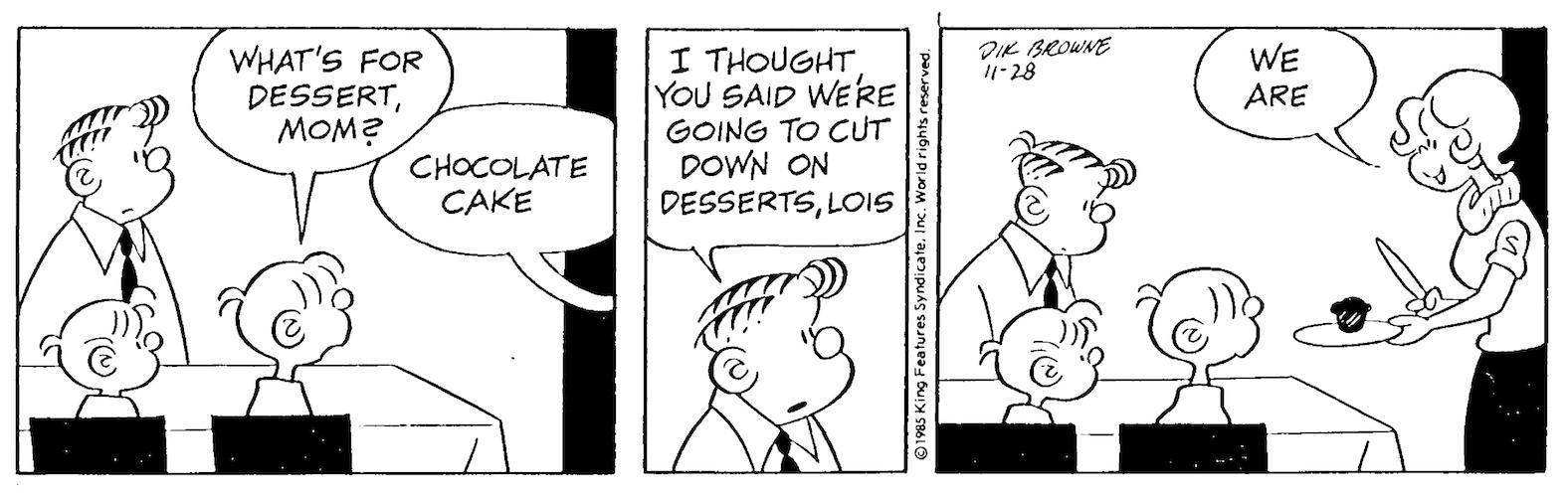 Hi and Lois daily strip, November 24, 1985.