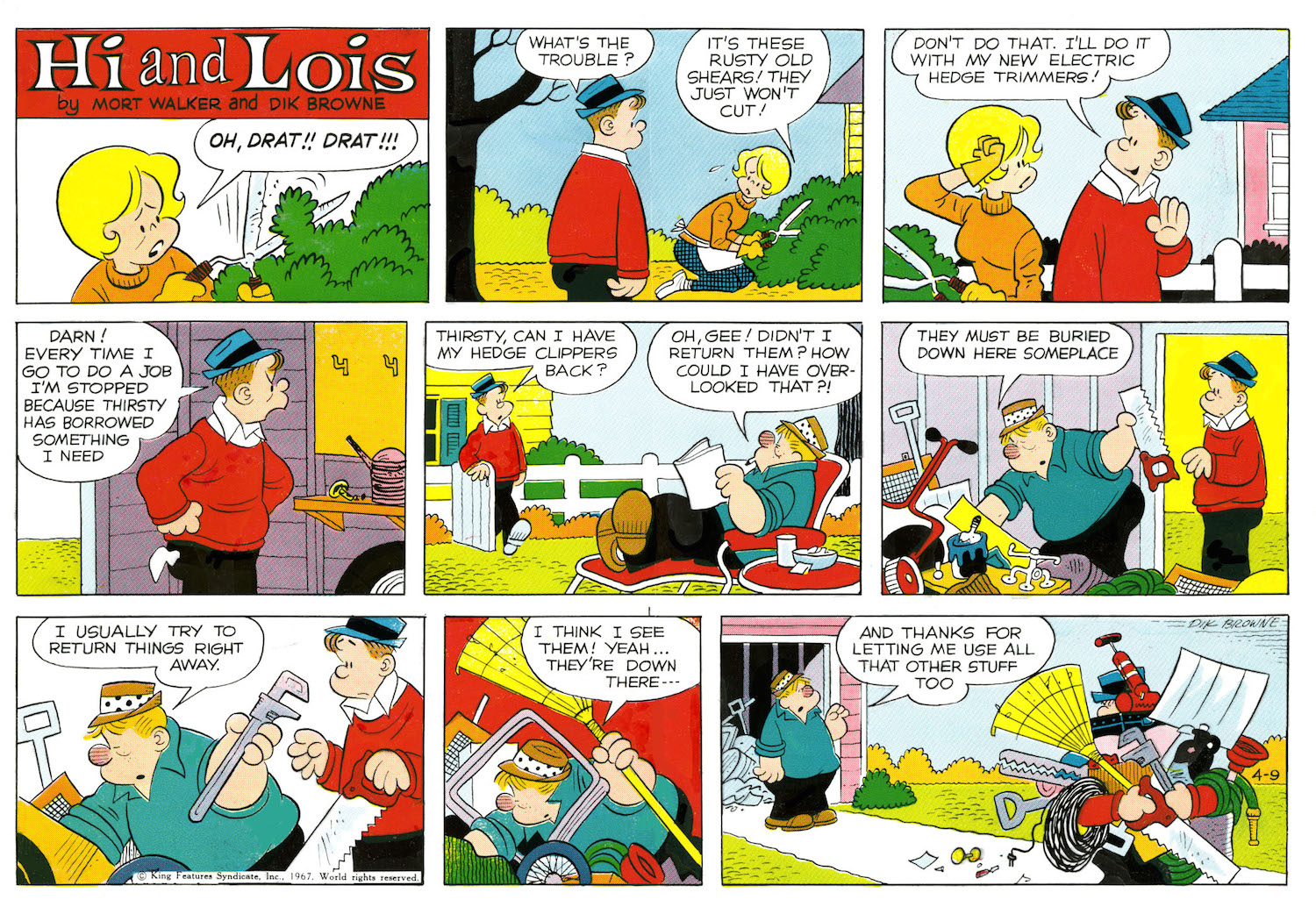 Hi and Lois Sunday page color proof, April 9, 1967.