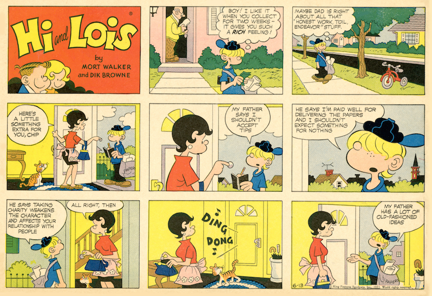 Hi and Lois Sunday page color proof, June 13, 1971.