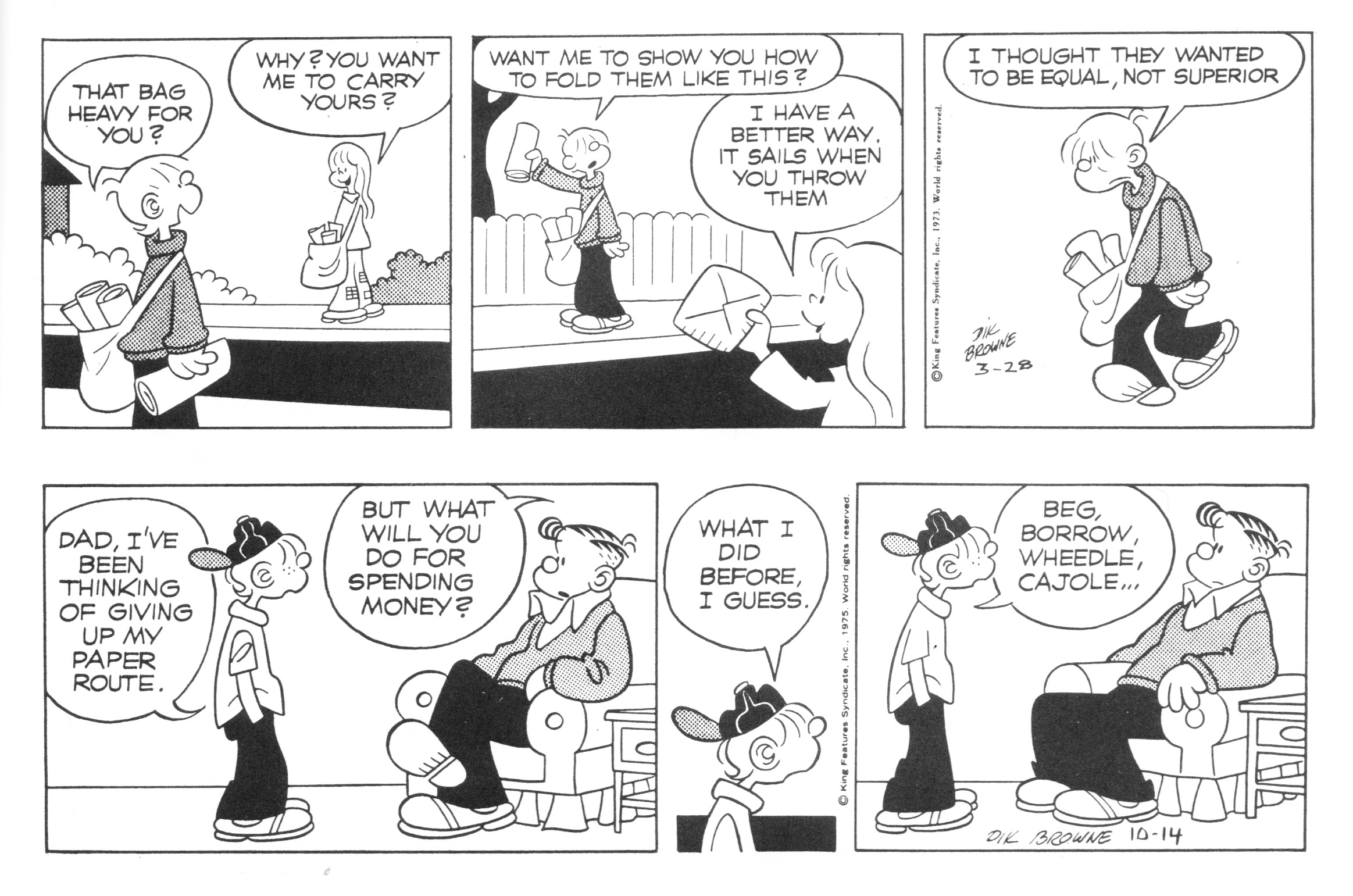 Hi and Lois daily strips, March 28, 1973 and October 14, 1975.