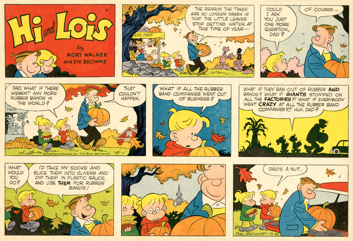 Hi and Lois Sunday page, color proof, November 10, 1974.