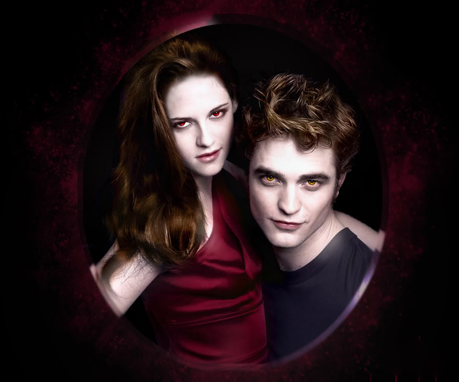 Kristen Stewart as Bella and Edward Pattinson as Edward from The Twilight Saga.