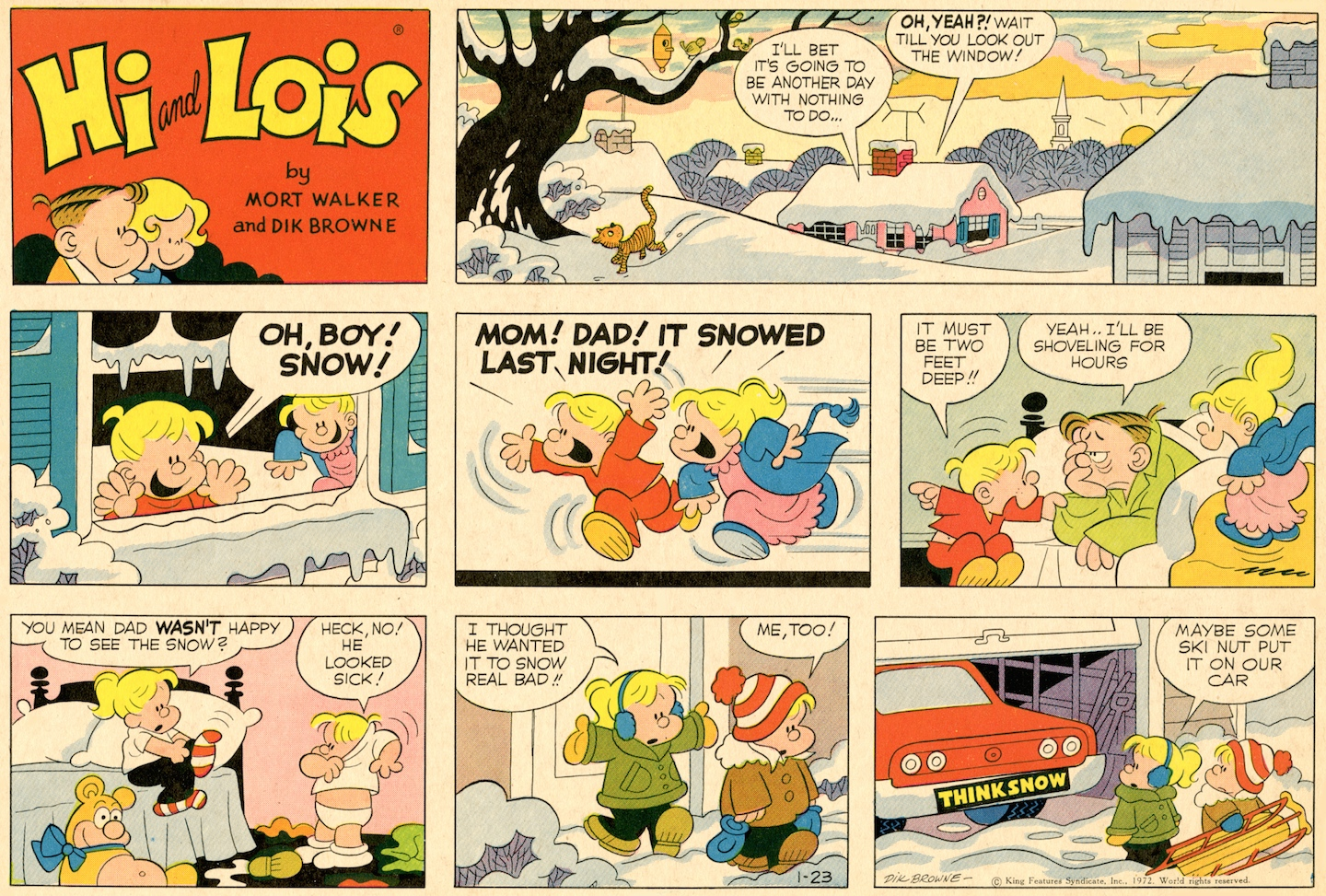 Hi and Lois Sunday page, January 23, 1972.