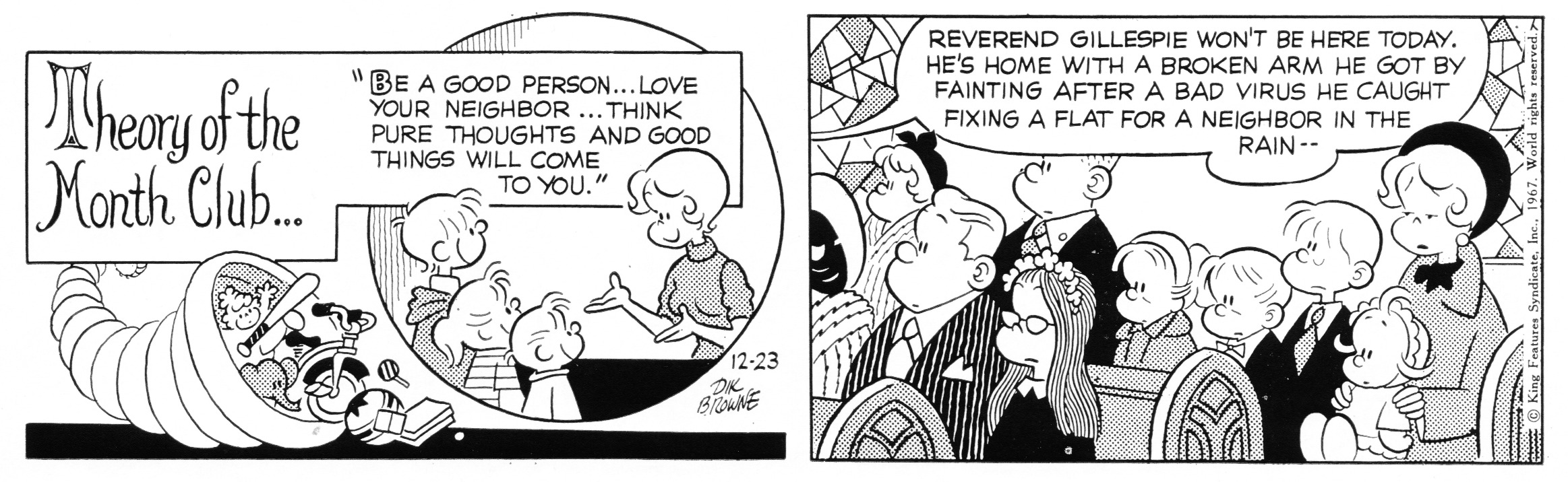 Hi and Lois daily strip, December 23, 1967.