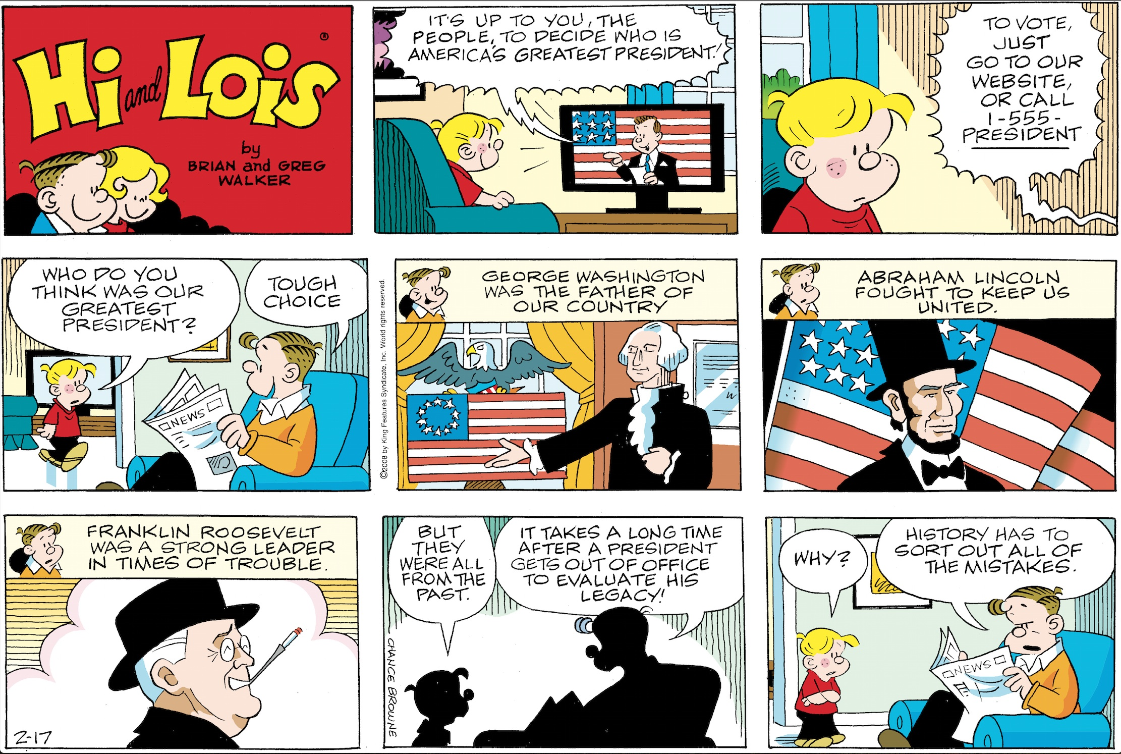 Hi and Lois Sunday page, February 17, 2008.