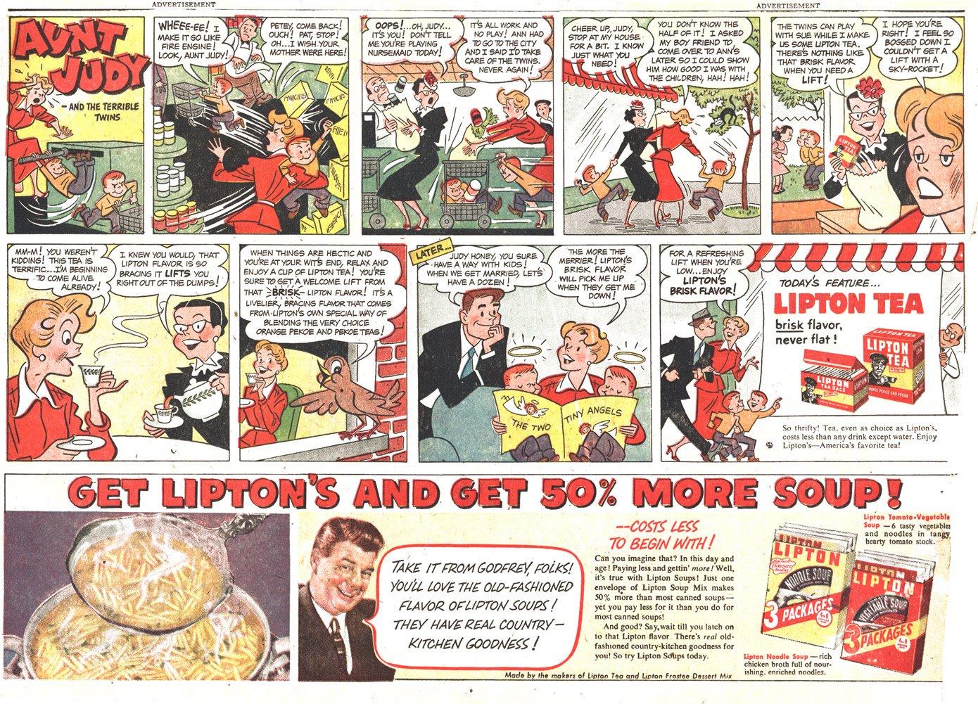 Lipton Tea ad by Dik Browne, March 1951.