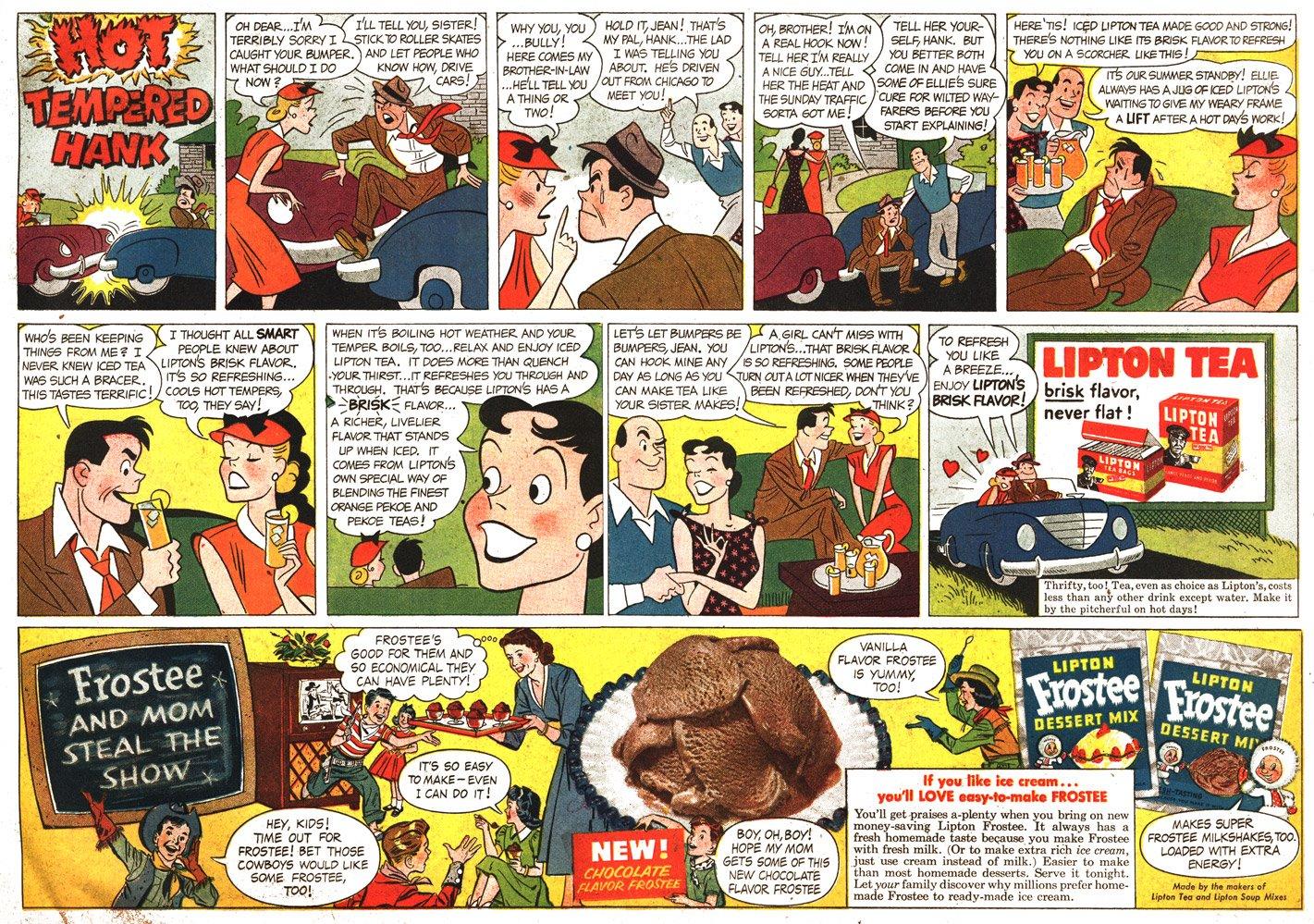 Lipton Tea ad by Dik Browne, May 27, 1951.