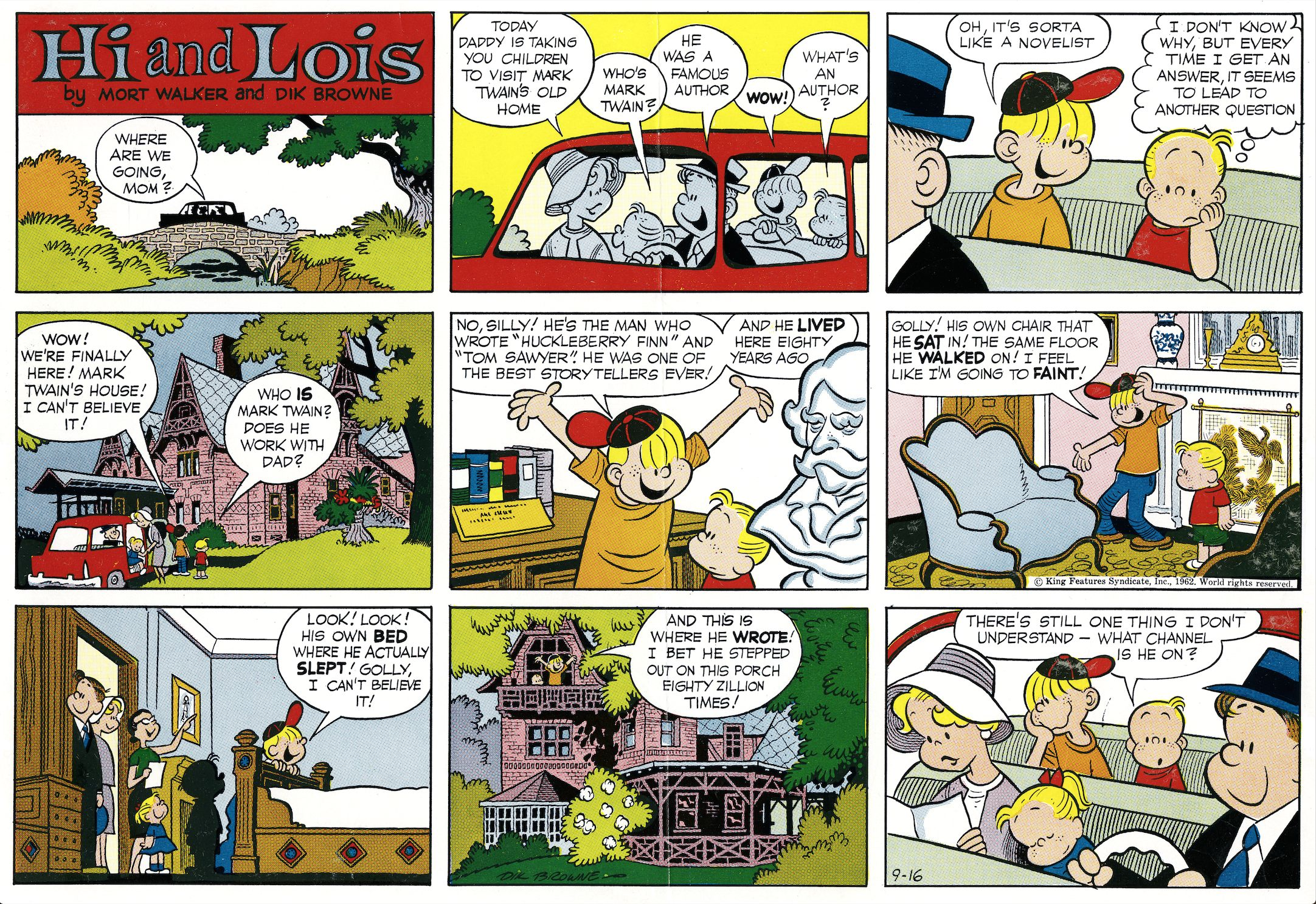 Hi and Lois Sunday page color proof, September 16, 1962.