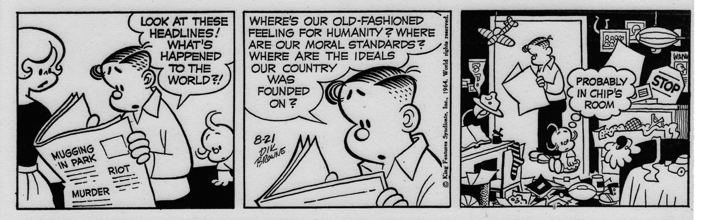Hi and Lois daily strip, August 21, 1964.
