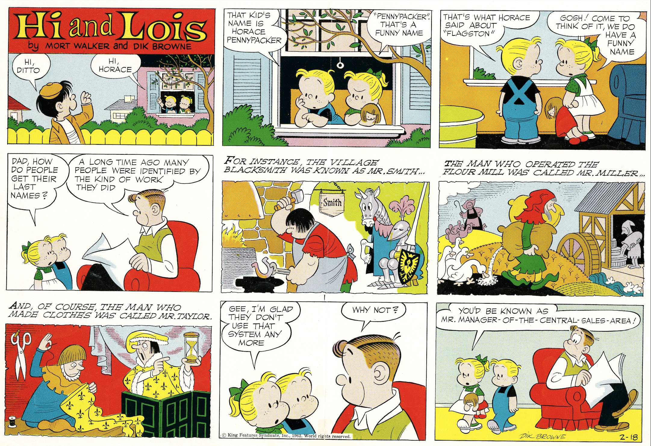 Hi and Lois Sunday page color proof, February 8, 1962.