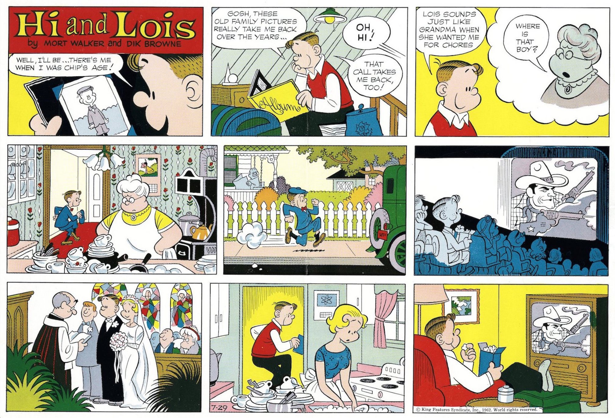 Hi and Lois Sunday page color proof, July 29, 1962.